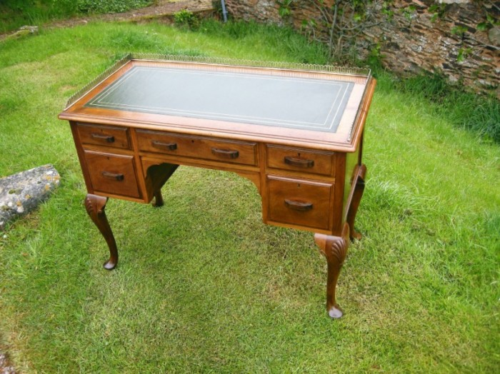 Edwardian Walnut desk with gallery