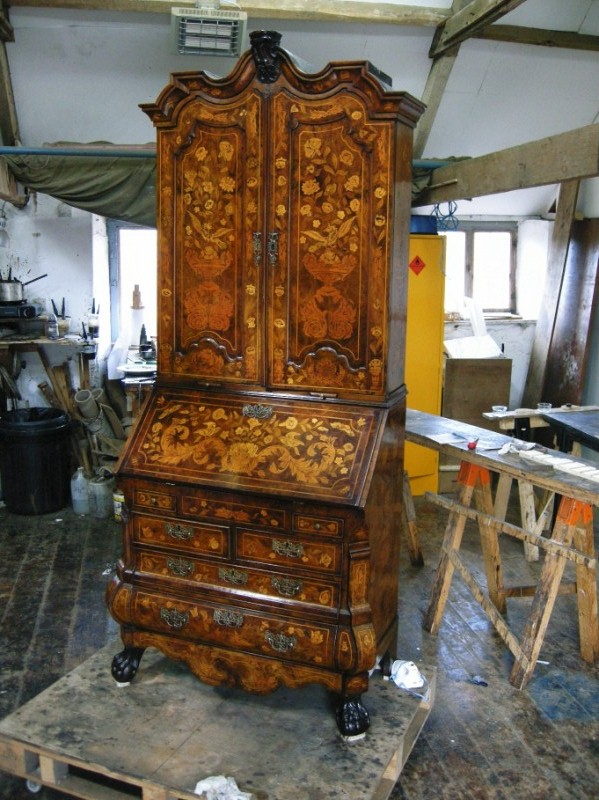18th Century Dutch Marquetry Bureau Cabinet